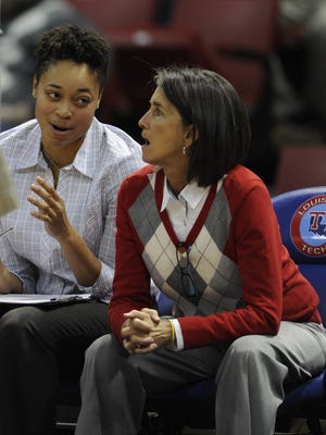Mickie DeMoss sits on the bench during a recent game at Louisiana Tech. The Techsters legend spent the past two years on staff with former coach Tyler Summitt.