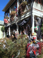 Halloween decorations adorn a home on N. Tioga Street