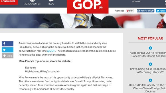 A screengrab shows a GOP blog declaring Mike Pence