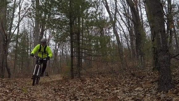 Indulging in mid-December mountain biking at Levis Mounds.