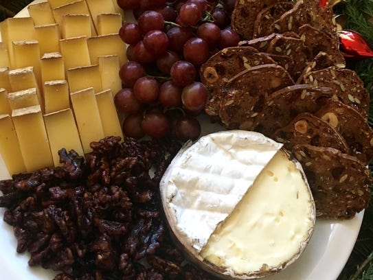 This is a cheese platter featuring (L) Pleasant Ridge