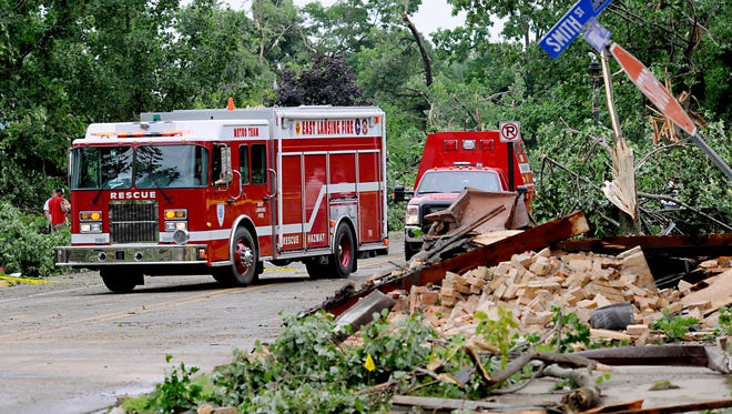 Fire and rescue crews from all over the area head in to help in  Portland after severe storms Monday.