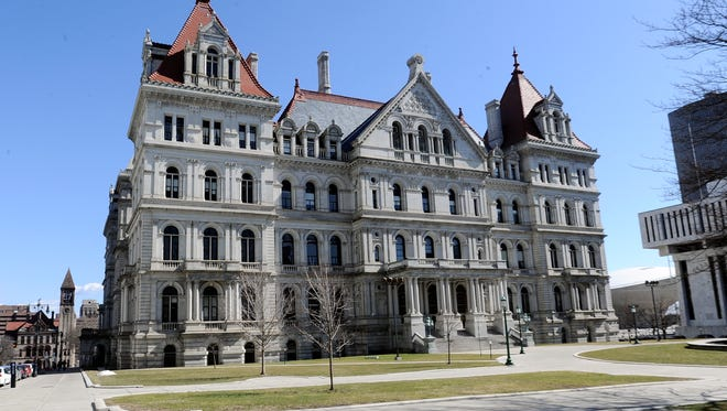Exterior view of the New York state Capitol as legislative leaders work on the state budget in Albany, N.Y., Sunday, April 2, 2017.