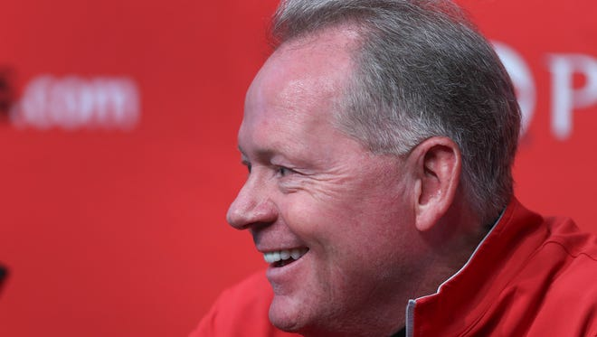 Louisville coach Bobby Petrino talks to the media during a press conference, Monday, at Papa John's Cardinal Stadium.
