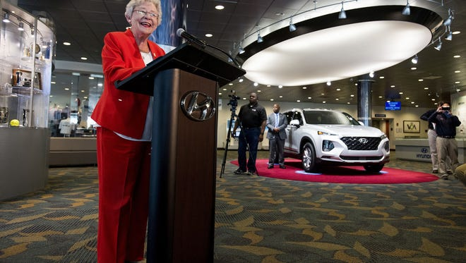 Alabama Gov. Kay Ivey speaks during a jobs announcement at the Hyundai plant in Montgomery, Ala. on Tuesday May 29, 2018.