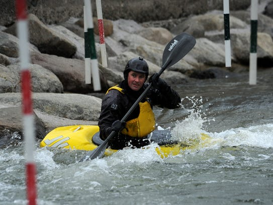Noah Fraser runs the slalom course at the Truckee River