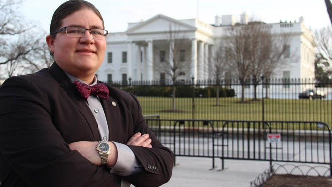 Dahkota Kicking Bear Brown at the White House the day after he was selected to serve on the National Advisory Council on Indian Education.