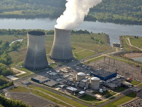 This April 2007 Tennessee Valley Authority photograph shows the cooling towers of the Watts Bar Nuclear Plant in Spring City, Tenn.