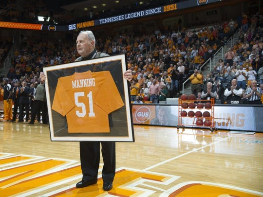 Gus Manning was honored before the Vols' matchup against the Missouri Tigers at Thompson-Boling Arena Saturday, Mar. 9, 2013. (ADAM BRIMER/NEWS SENTINEL)
