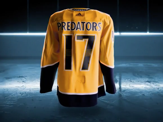 The back of the Predators' updated Adidas uniforms.