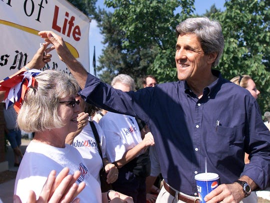 Sen. John Kerry, a Massachusetts Democrat and presidential candidate, works the crowd August 13, 2003, after his speech at the Des Moines Register Political Soapbox at the State Fair.