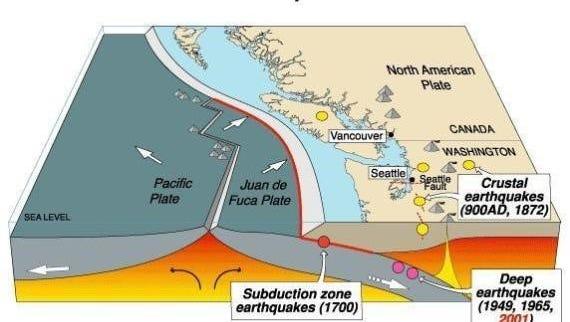 Cascadia quake map