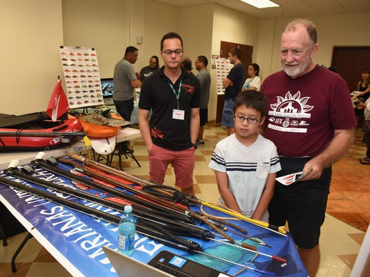 """Experienced fishermen of various disciplines were on hand to share their knowledge of catching fish with community members of all ages during the Fina'nå'guen Peskadot Fishing Expo at the Guam Museum on Saturday, Oct. 14, 2017. The event was a collaboration effort between the University of Guam Sea Grant, the Western Pacific Regional Fishery Guam Advisory Panel, Humanities Guåhan and the Guam Museum to support the joint exhibition, """"Water/Ways"""" and """"Hita i Hanom, We Are Water,"""" featuring local fishermen and examines the cultural practice and mentorship for cultural preservation."""