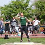 Jake Schneeberger, one of three CSU athletes selected as winners of All-American Athlete Awards by the National Strength and Conditioning Association, competes in the shot put during an April 25 meet in Fort Collins.