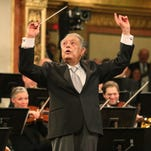 Maestro Zubin Mehta conducts the Vienna Philharmonic Orchestra during the traditional New Year's concert at the Musikverein in Vienna, Austria, Thursday, Jan. 1, 2015. (AP Photo/Ronald Zak)