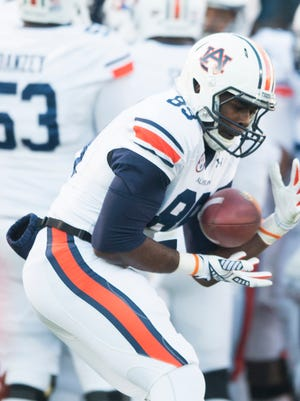 Auburn wide receiver Jaylon Denson (89) catches a pass before the NCAA football at University of Mississippi in Oxford, Miss., on Saturday, Nov. 1, 2014.