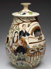 Vase by Gills Rock Stoneware, one of the sites in this weekend's Ellison Bay Fall Art Crawl.