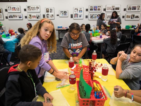 Students make clay turtles during Corpus Christi Independent