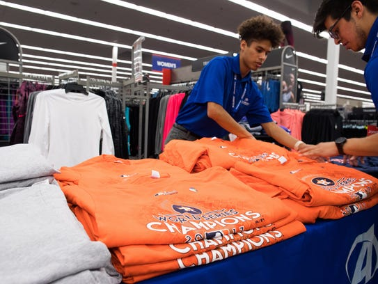 Academy Sports and Outdoors in Corpus Christi was selling Astros World Series Champions gear after the team's Game 7 win over the Los Angeles Dodgers on Wednesday, Nov. 1, 2017.