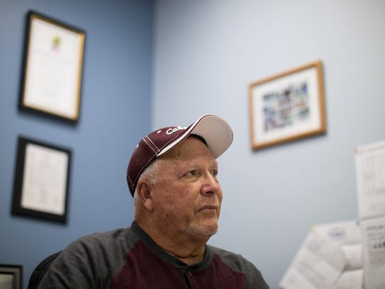 Port Aransas Mayor Charles Bujan talks about the town's ongoing recovery efforts after Hurricane Harvey in his office on Wednesday, Dec. 27, 2017. Bujan has been named the Caller-Times Newsmaker of the Year for 2017.