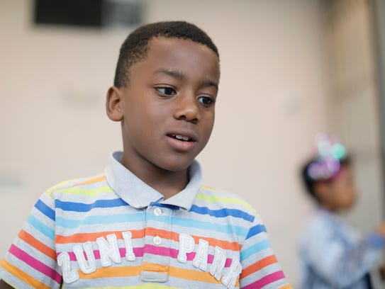 Jayshawn Leonard-Jones, 9, a student at the Slater