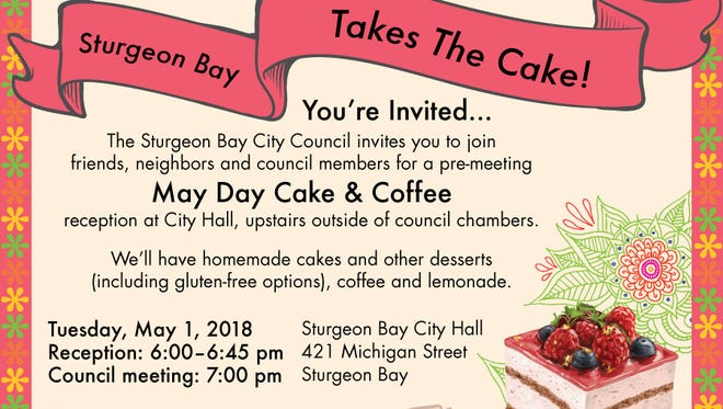 Invitation to the May Day Cake & Coffee event prior to the May 1 Sturgeon Bay City Council meeting.