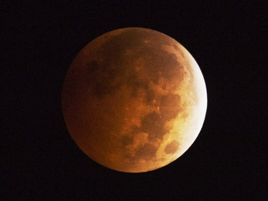 A blood moon seen in Los Angeles in 2014. This weekend's