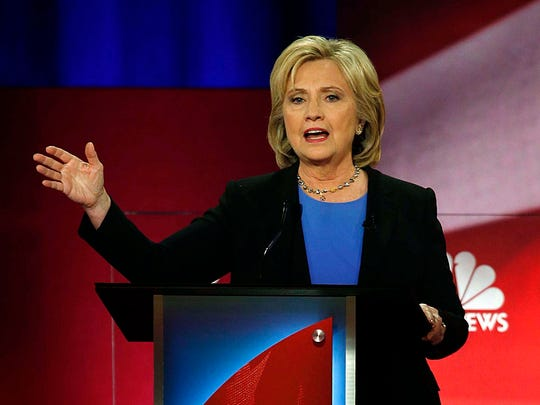Democratic presidential candidate, Hillary Clinton speaks at the NBC, YouTube Democratic presidential debate at the Gaillard Center, Sunday, Jan. 17, 2016, in Charleston, S.C.