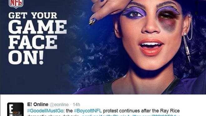 """Protesters are using Procter & Gamble's """"Get Your Game Face On"""" CoverGirl campaign against the NFL to call for a boycott and Commissioner Roger Goodell's resignation."""