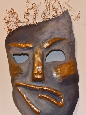 """This is one of more than 100 art pieces submitted by Escambia County students for the """"Student Mask Show"""" that was on display at Artel Gallery in downtown Pensacola in March 2018."""