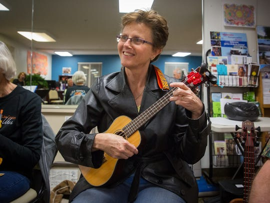 Marie Hughey, a member of the Las Cruces Ukes, who's