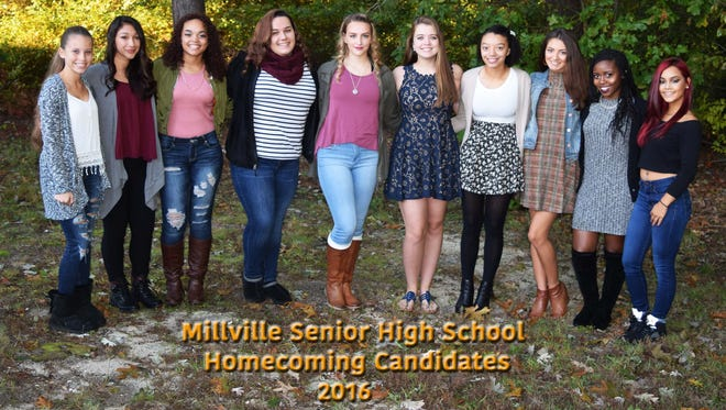 Millville High School's Top 10 Homecoming Queen candidates are: (from left) Alyssa Marquez, Kiana Arroyo, Izanae Somerville, Chase Pettit, Jenna Guy, Lindsay Abbott, Victoria Profitt, Olivia Millard, Danielle Carr and Yaniksa Robles.