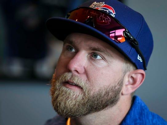 Iowa Cubs' catcher Taylor Davis speaks during media