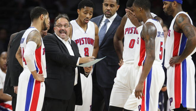 Detroit Pistons head coach Stan Van Gundy draws up a play during fourth period action against the Los Angeles Clippers  on Wednesday, November 26, 2014 at The Palace of Auburn Hills.