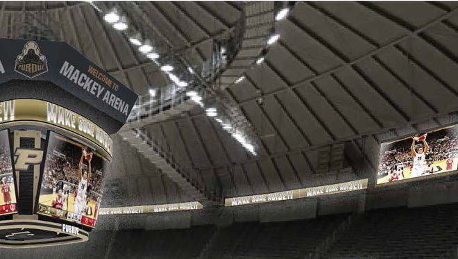 Artist's rendering of the new Mackey Arena video boards.