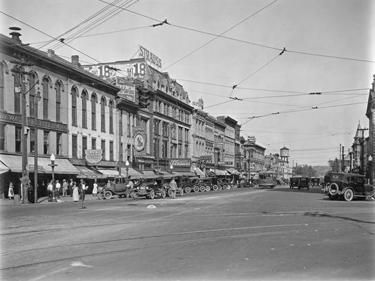 High Street at Second Street, looking east, in Hamilton,