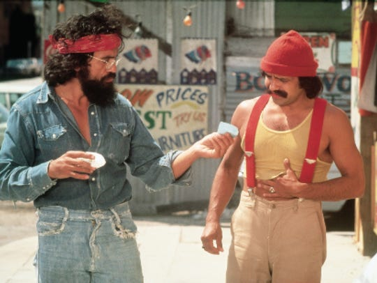 "A still from the Cheech and Chong movie ""Up in Smoke."""