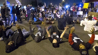 Recent protest outside Phoenix police headquarters.