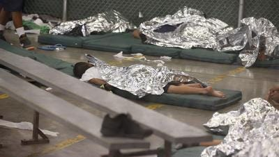 Central American children held in June 2014 at U.S.  Customs and Border Protection's Nogales Placement Center.