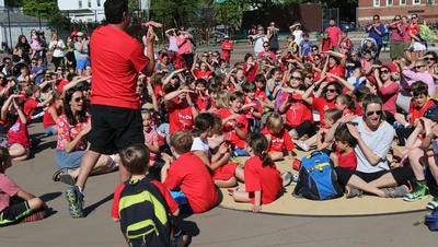 """The Mamaroneck-Larchmont Council of Parent Teacher Associations led a """"time out"""" at Chatsworth Avenue School in Larchmont in May to protest the state's teacher-evaluation system."""
