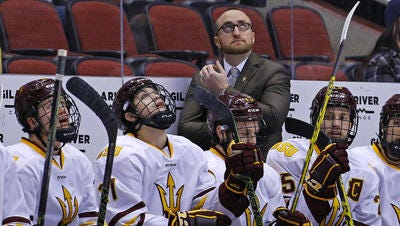 ASU hockey coach Greg Powers remains positive about the program's direction despite 10 straight losses in its first NCAA Division I season.