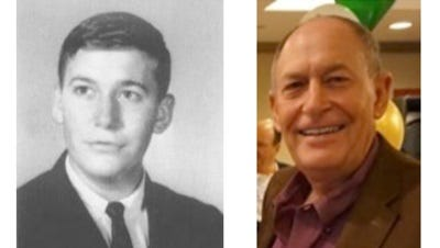 John Shannon, Fort Myers High School graduation photo 1965, and more recent photo.