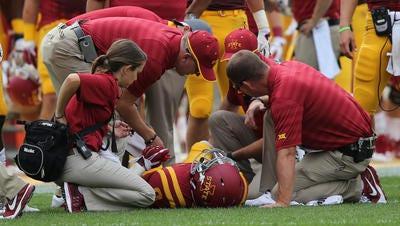 Quneton Bundrage stays on the ground after suffering an injury in Iowa State's season opener.