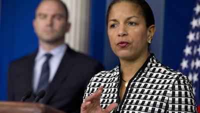 Former UN Amb Susan Rice, flanked by Deputy National Security Adviser Ben Rhodes