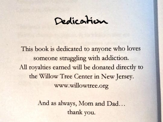 The dedication from Alicia Cook's book.
