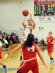 Oak Harbor's Andrea Cecil shoots during the Lady Rockets