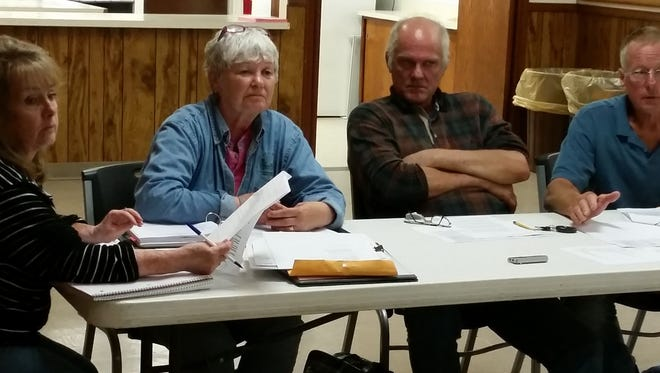 Sturgeon Bay Town Clerk Nancy Anschutz, from left, Town Supervisor Carol Schuster, Town Supervisor Paul Skup and Town Chairman Dan Cihlar, during discussion on allowing ATV's to operate on town roads.
