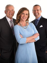 Krista Voda is host and Dale Jarrett, left, and Kyle