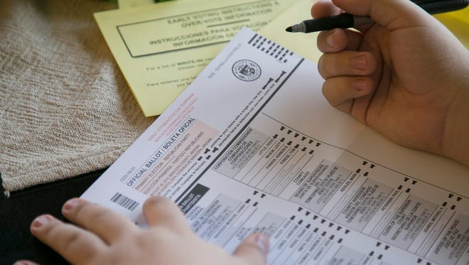 An Arizona mail-in ballot is filled out.