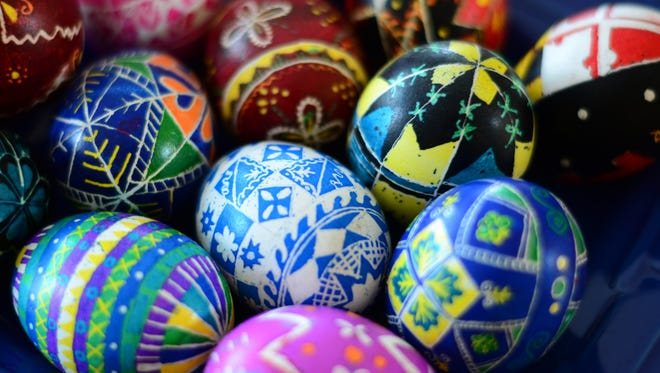 A collection of decorated Ukrainian eggs.